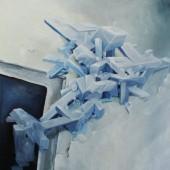 ca2p2o7-2(Calcium pyrofosfaat kristallen) - 67,8x95,8cm - olieverf op doek - 2012