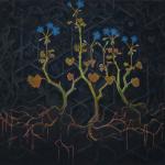 blauwe geranium - olieverf op doek - 80x88cm