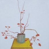 joop's - geranium - olieverf op doek - 80x88cm