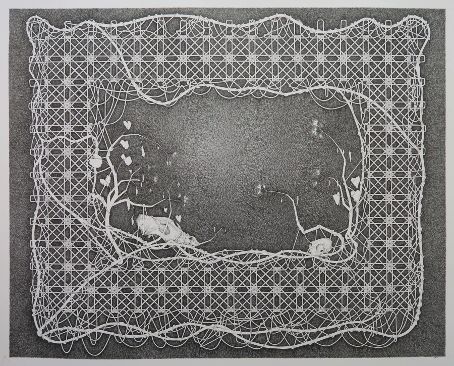 Twee Schedels - 116,5x146,5cm - pen op papier - 2016(k)